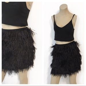 MICHAEL MICHAEL KORS ostrich feather mini skirt.